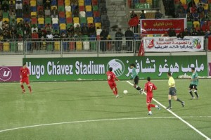 Syria's national team plays a friendly soccer match against Libya at a stadium named after Venezuelan President Hugo Chavez in Benghazi