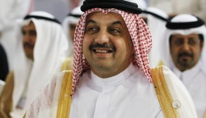 Qatari Foreign Minister Khalid Bin al Attiyah smiles during the 23rd EU-GCC Council and Ministerial Meeting in Manama