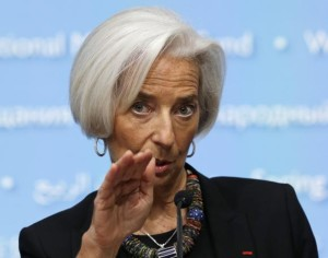 File photo of IMF Director Lagarde holding a news conference in Washington