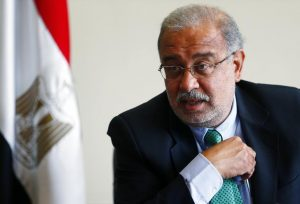 Egypt's Petroleum Minister Sherif Ismail talks during an interview with Reuters in Cairo